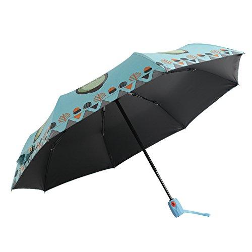MAYUAN520 Kreativ - Schirm _ Automatische Regenschirm Schwarze Klebstoff Totoro Kinder Schirm Sonnenschirm Kreative Sonnencreme,Blau