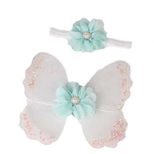 Baby Mädchen Schmetterling Flügel Kostüm Foto Fotografie Stütze Outfits (Weiß) ()