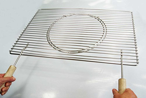 Edelstahl Grillrost 67 x 40 cm Expert + Griffe + Ø 29 cm herausnehmbaren runden Grillrost nur 12 mm Stababstand, Stäbe Ø 4mm !!!, stabil