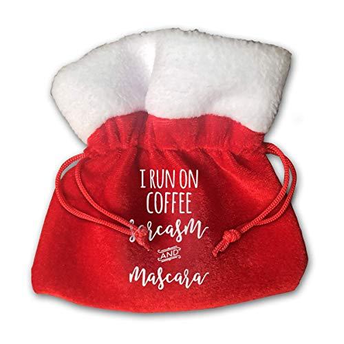Jkimiiscute Personalized Santa Sack,I Run On Coffee Sarcasm and Mascara Portable Christmas Drawstring Gift Bag (Red)
