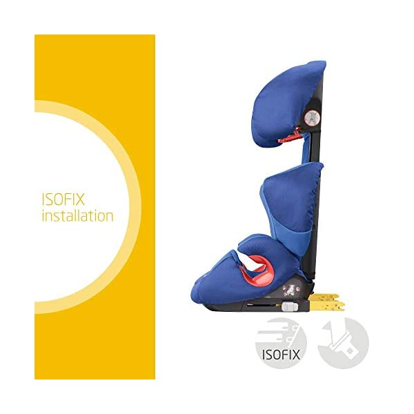 Maxi-Cosi Rodi XP FIX Child Car Seat, ISOFIX Booster Car Seat, Lightweight, 3.5-12 Years, 15-36 kg, Electric Blue Maxi-Cosi Booster car seat for children from 15 to 36 kg (3.5 to 12 years) Side protection system for optimal protection against side impact for head, lower back and hips Backrest of this lightweight car seat grows along with child in length and width 2