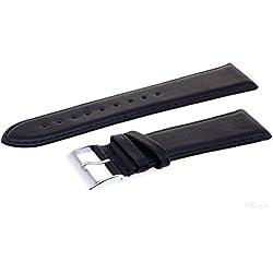 Uhren Lederband Ersatz Armband echt Leder 24 mm Bandanstoß breit schwarz m. Naht