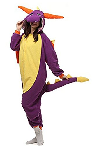 Kenmont Jumpsuit Tier Cartoon Einhorn Pyjama Overall Kostüm Sleepsuit Cosplay Animal Sleepwear für Kinder / Erwachsene (Large, Purple Dinosaur)