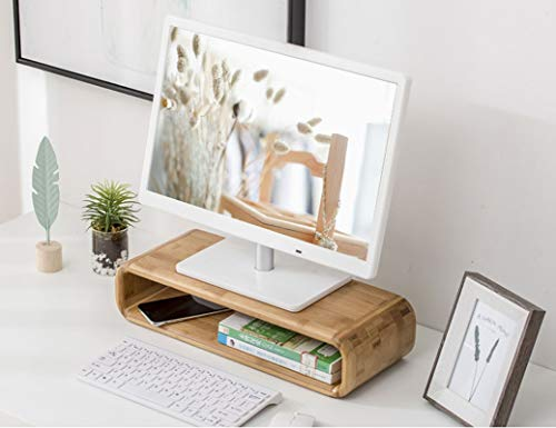 Bamboo Monitor Nackenschutz Stehen Riser Speicherorganisator Büro Computer Schreibtisch Laptop, Drucker Stand einlagig Desktop Container Datenleitung Lagerung (45cmx17.5cmx10cm)