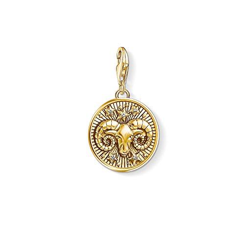 Thomas Sabo Damen Herren-Charm-Anhänger Sternzeichen Widder Charm Club 925 Sterling Silber vergoldet 1652-414-39