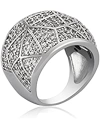 Shaze Rhodium Plated Geometry Of Love Ring For Women