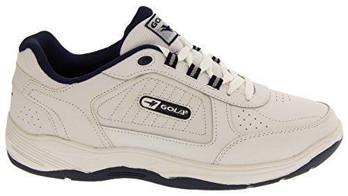 Gola Cuir Véritable Ajustement Large Baskets à Lacets Hommes Blanc - White Lace Up