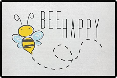 Bee Happy Glückliche Biene Fußmatte - Türmatte für die Haustür oder Außenbereich - Schmutzfangmatte mit Herz Aufdruck aus Polypropylen mit rutschfester Unterseite (Weiß) (Grünes Bier T-shirt Humor)
