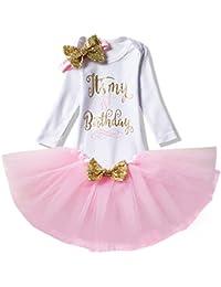 NNJXD Mädchen Neugeborene Es ist mein 1. Geburtstag 3 Stück / 4 Stück Outfits Strampler + Rock + Stirnband (+ Leggings)