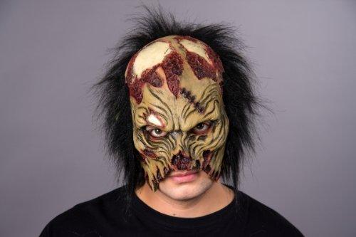 Halloween Maske Zombie Dämon Halbmaske mit Haaren Horrormaske (Dämon Masken Halloween)