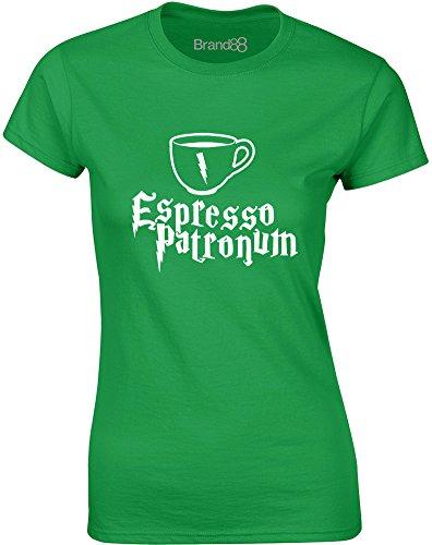 Brand88 - Espresso Patronum, Gedruckt Frauen T-Shirt Grün/Weiß