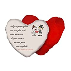 Idea Regalo - cuscino a forma di cuore con scritta anniversario matrimonio 25 anni idea regalo