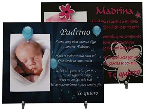 Lote: 1 Marco de fotos para Padrino + 1 Madrina - Regalo para bautizos, Navidad,...