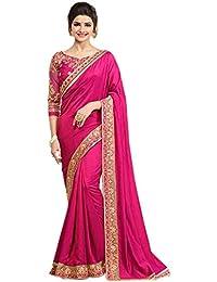 KANHA FASHION Women's Silk Saree (Saree690, Pink, Free Size)