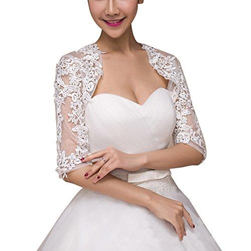 Preisvergleich Produktbild Janecrafts Bolero Cape fur Brautkleid Hochzeit aus Spitze Brautstola Brautjacke