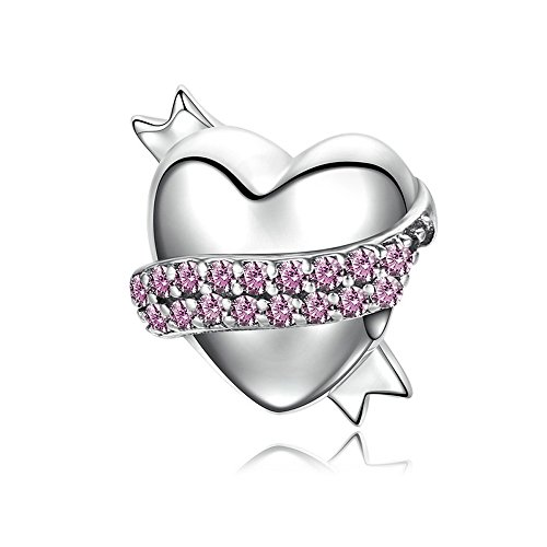 Everbling Bead Band Hug Gentle Heart Pink CZ 925Sterling Silber Bead für Pandora Charm Armband