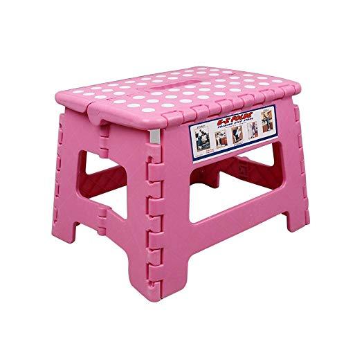 Sgabello pieghevole, plastica Toddler fold Up sgabello pieghevole con manico, stabile e sicuro per bambini e adulti, ideale per cucina, bagno, camera da letto rosa