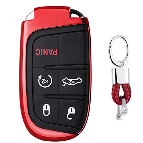 Rot Car Keyless Entry Key Cover Fall für Jeep Grand Cherokee. Chrysler 300. Dodge Durango Charger Challenger Journey, weiches TPU Schutzhülle mit Schlüssel Kette (Fernbedienung Challenger Dodge)