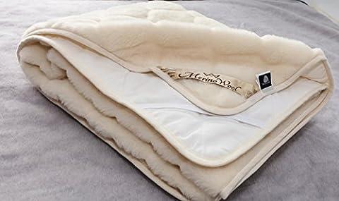 CARO 100% Australian Merino Wool Reversible Mattress Topper Cashmere Wool Underblanket , KING size 160/200cm WOOLMARKED 600gsm by Merino Wool