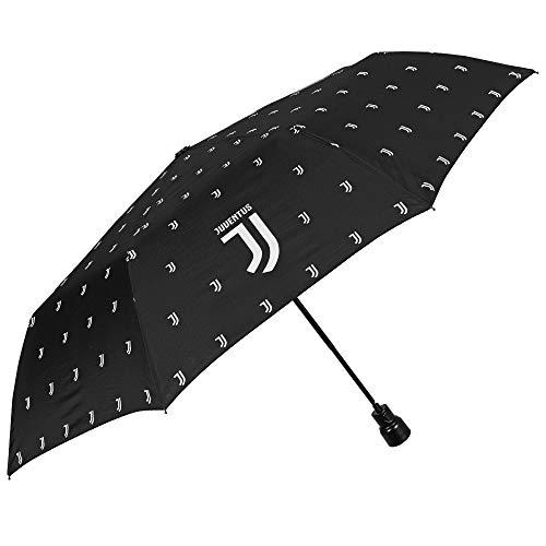 Paraguas Plegable Juventus Football Club - Paraguas Mini Hombre Mujer Juve - Resistente y Antiviento - Negro con Logo Original - Ligero y Compacto - Automatico - PFC Free - Diametro 96 cm - Perletti