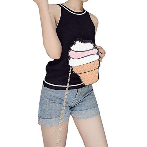 Rokoo Lustige Eiscreme-Kuchen-Tasche Kleine Crossbody Beutel für Frauen nette Geldbeutel -Handtaschen -Kette Messenger Bag Partei-Beutel Ice Cream