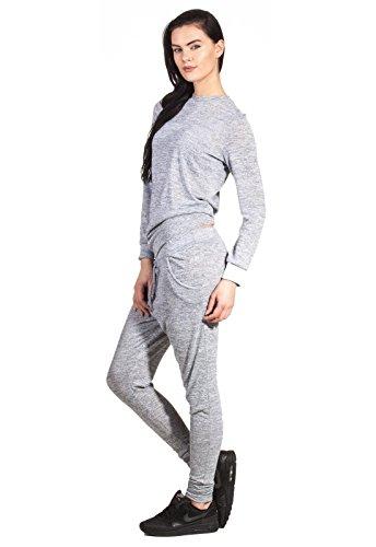 Pyjama Freizeitanzug Anzug Zweiteiler Set Jumpsuit Overall Damen Fashion Meliert Hausanzug Hellgrau
