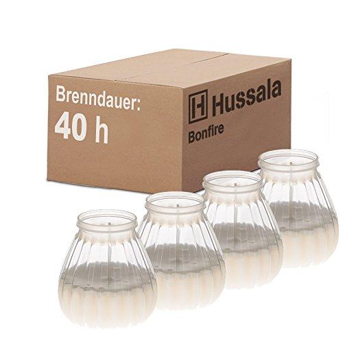 Hussala Bonfire Kerzen mit Kunststoff-Windlicht-Glas (Outdoor & Indoor-Kerze) Brennzeit 40 h - weiß [4 Stück]