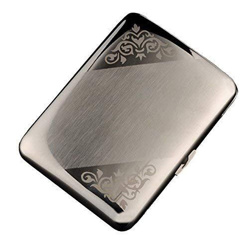 CaLeQi High-Grade Edelstahl Zigarettenetui, Vernickelung Drahtziehen, Silber Farbe, Hält 16 Zigaretten Geschenkbox (Emboss) -