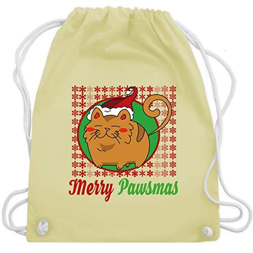 Weihnachten & Silvester - Merry Pawsmas - Unisize - Pastell Gelb - WM110 - Turnbeutel & Gym Bag