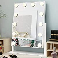 Ovonni Lighted Vanity Makeup Mirror, Dimmable Tabletop Cosmetic Mirror with LED Bulbs, Touch Control and 3 Color Modes, White