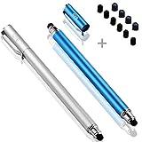 Bargains Depot B & D Stylus Stift Touch Pen Eingabestift Kapazitiven Touchscreen mit 10x Ersatzspitzen für Tablet iPad iPhone Samsung Galaxy Tab (Blau/Silber)