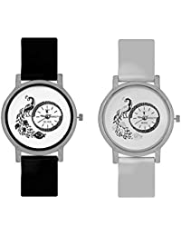 Nubela Peacock Black And White Colour Round Dial Analog Watch For Girls And Women