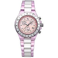 binlun Japanisches Quarz-Weiß Pink Keramik Beleuchtung Datum 24GMT Sport Multifunktions-Uhr für Frau