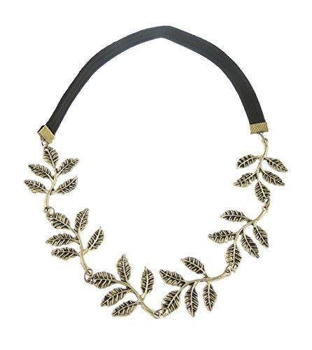 Glamour Girlz Look Vintage Vieil Or feuille d'olivier grappes branche élastique Serre-tête avec roses en métal