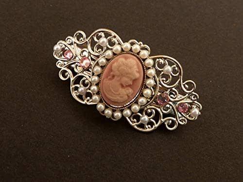 Piccolo fermaglio per capelli con cammeo in argento rosa