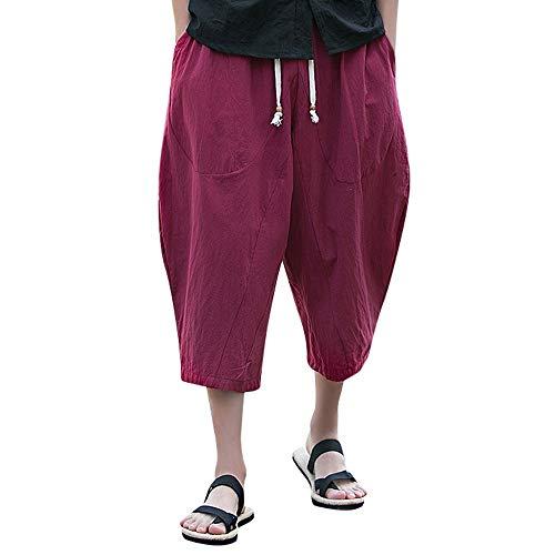 BOLANQ Sporthosen kurz Herren Männer beiläufige dünne Sport-Hosen-Kalb-Länge Leinenhose Baggy Harem Pants(Medium,Wein) - Kalb Länge Hosen