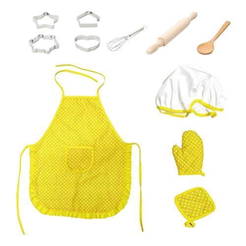Toyvian Kinder Kochschürze Set mit Kochmütze Kochlöffel Schneebesen Ausstechformen Nudelholz und Topflappen für Küche Rollenspiel Spielzeug Kostüm(Gelb)