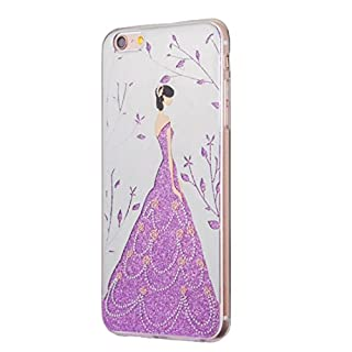 ACVIP Glitter Bling Girl Skin Cover Case Pouch with Faux Pearl Cell Phone Lanyard for Apple iPhone 6s 6s Plus 7 7 Plus (Apple iPhone 7, Purple 1)