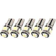 SODIAL(R) 10PCS Libre de Error Canbus W5W T10 5050 5-SMD LED Blanco Luz Bulbo Lampara