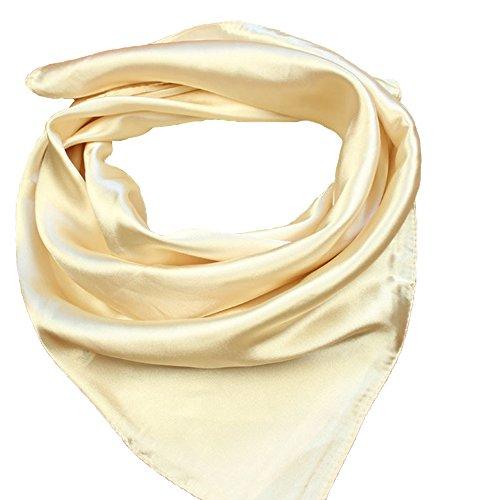 Seide Mutter Der Braut Kleider (RongShi Seide Square Schal Damenmode Schals Leichte Kleine Einfarbig 22 In (Ginkgo))