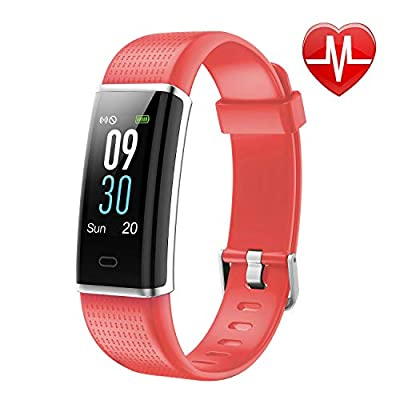 Letscom Fitness Tracker, Heart Rate Monitor Watch with Color Screen, IP68 Waterproof, Step Counter, Calorie Counter, Sleep Monitor, Pedometer, Smart Watch for Kids Women and Men from LETSCOM