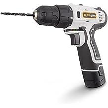 Argon Power Tools 46243 - Taladro atornillador de batería de litio (10.8V, 0-1350 RPM, 17 posiciones PAR, carga rápida, Luz LED) color blanco
