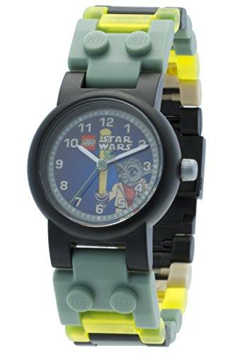 Reloj modificable infantil de Yoda de LEGO Star Wars con pulsera por piezas y figurita; verde/gris; plástico; 28 mm de diámetro; Cuarzo analógico| chico chica; oficial