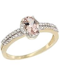 14ct oro amarillo Natural del anillo de 6 x 4 mm Oval colgantes diamante acento, Tamaños J - T