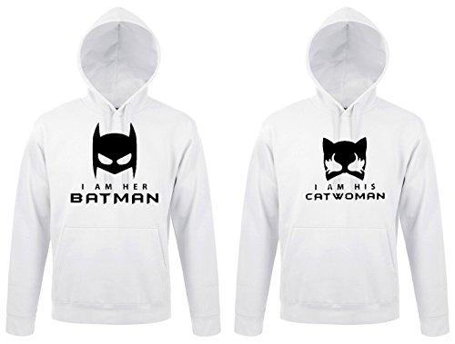 TRVPPY - Couple Partenaire 2x Sweat Pull à capuche / modèle HER BATMAN & HIS CATWOMAN / pour Homme & Femme / différentes tailles et couleurs Blanc