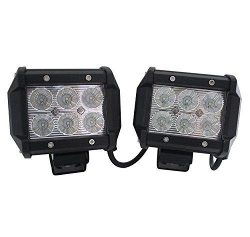 FuriAuto 2PCS 18W Faro de trabajo de LED Luz Faro proyector lámpara de trabajo de LED Luz Coche Moto campo a través del jeep del carro ATV SUV Barco Minería