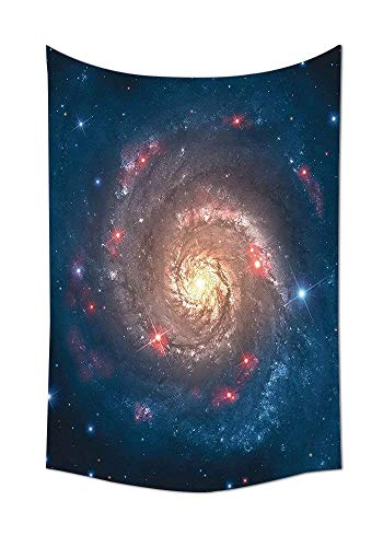 daawqee Tapestry Wall Hanging Space Decorations Collection Mystical Spiral Galaxy Expanse Beyond Milky Way Planet Astral Space Dark Blue Orange Wall Art for Living Room Bedroom Dorm Decor