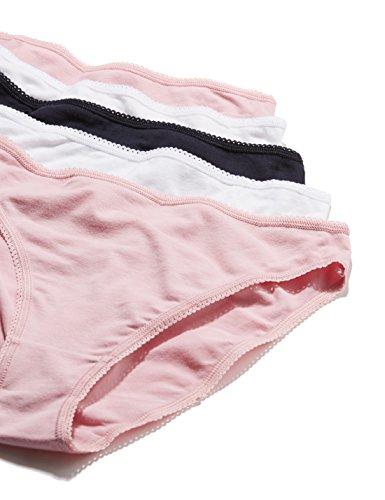 Iris & Lilly Damen Taillenslip Cotton High Leg, 5er Pack Mehrfarbig (Pink Nectar/White/Navy Sky)