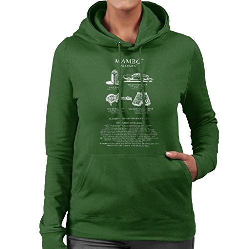 Mambo Classics The Short Story White Text Women's Hooded Sweatshirt Bottle Green