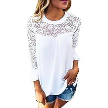 Auxo Damen Langarm Shirt mit Spitze T-Shirt Rundhals Oberteile Tops Basic  Tunika de5a7c3873